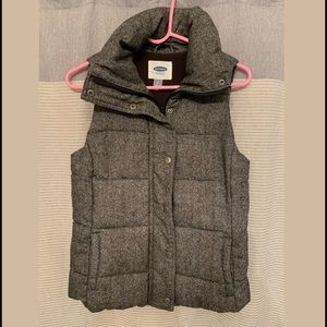 Old Navy Wool Puffer Vest Grey Marl small